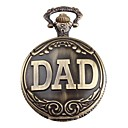 Men's DAD Logo Alloy Analog Quartz Pocket Watch (Bronze)