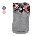 Dog Sweater / Shirt / T-Shirt / Shirt / Clothes/Clothing Pink / Gray Winter / Spring/Fall Plaid/Check Fashion
