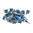 20 Pieces Blue Mini DPDT Guitar Toggle Switch (ON-ON)