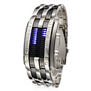 Men's Watch Faceless Watch Blue LED Digit Watch Calendar Steel Band Cool Watch Unique Watch