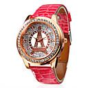 Frauen-Diamant-Muster rosa Turm pu-Band Quarz Analog Armbanduhr