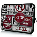Traffic Signs Pattern Nylon Material Waterproof Laptop Tablet Sleeve Case for 11