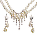 The Semi-Circular Arc Pearl Earrings + Necklace Jewelry Set