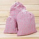Big Size Handmade Linen Check Pattern väska 1PCS