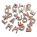 Rhinestone Decorated 26 Alphabet Style DIY Decoration for Dogs Collar(Pink)