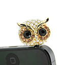 Gold Plated Alloy Zircon Owl Pattern Anti-støv Plug