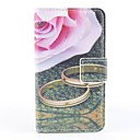 Pink Rose Mönster PU Full Body Case med kortplats och PC Back Cover insikt för iPhone 4/4S