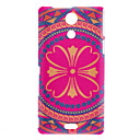 Purple Flower Table Style Pattern Hard Case for SONY-M36H