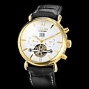 Men's Gold Case Calendar Function PU Analog Mechanical Wrist Watch (Assorted Colors)