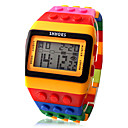 Multi-Color Block Brick Style Wrist Watch with LED Night Light - Yellow
