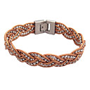 Women's Leather Beads Braided Bracelet Brown