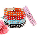 Adjustable 2-Roll Rhinestones Decorated PU Leather Collar for Pets Dogs (Assorted Colors, Sizes)
