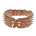Adjustable Three-Roll PU Leather Rivets Studded Spike Collar for Pets Dogs (Assorted Colors, Sizes)