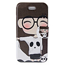 Fragrant Smell Lovely Girl and Panda Pattern Full Body Case with Matte Back Cover and Stand for iPhone 4/4S