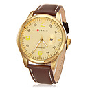 Men's Round Case Leather Band Quartz Analog Wrist Watch (Assorted Colors)