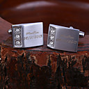 Rectangle Hadiah Personalized terukir manset dengan berlian imitasi