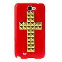 Gold Rivet Crucifix Pattern Hard Back Cover Case for Samsung Galaxy Note2 N7100