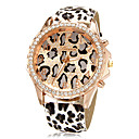Damenuhr Mode Strass goldenen Zifferblatt Leopard-Band