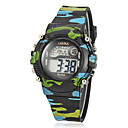 Children's Multi-Functional Round Dial Camouflage Rubber Band LCD Digital Wrist Watch (Assorted Color)