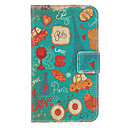 Cartoon Painting Pattern Faux Leather with Plastic Hard Back Cover Pouches for Samsung Galaxy S4 I9500