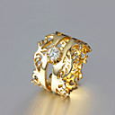 Gift For Girlfriend European Clear Rhinestone Royal Statement Rings(Gold)(1 Pc)