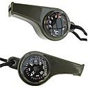 3-in-1 Survival Visselpipa med kompass och termometer-Grön