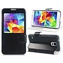 Ikkuna näyttää saapuvan puhelun telineellä PU Leather Case for Samsung Galaxy S5 i9600