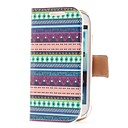 Colorful Stripe Style Leather Case with Card Slot and Stand for Samsung Galaxy S3 Mini i8190