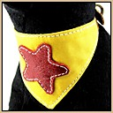 Yellow Canvas be Embroidered with Genuine Leather Star Pattern Bandana Collars for Pets Dogs (Assorted Sizes)
