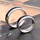 Unisex's Black Stripe Titanium Steel Couple Ring
