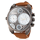 Men's Watch Military Dual Time Zones Leather Band