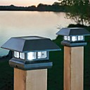 2-led wit zonne bericht cap licht dek hek mount outdoor tuinhek lamp