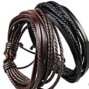 Fashion Leather Brown Black Men's Wrap Bracelet(1 Pc)