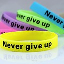 Lureme®Never Give Up Noctilucent Printing Silicone Wristband Bracelet(Random Color)