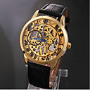 Menns Elegant Gold Skeleton Black Leather Band Manuell Mekaniske armbåndsur