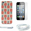 Pineapple Pattern Hard Case and Screen Protector and Stylus and Cable for iPhone 5/5S