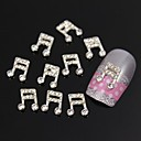 10pcs    Rhinestone Musical Note 3D DIY Alloy Jewel Accessories Nail Art Decoration