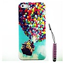 Balloon House Pattern Hard Case & Touch Pen for iPhone 4/4S