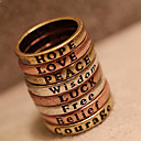 Women's European and American retro minimal letter Wish Ring (random color)
