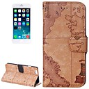 Brown World Map Pattern Wallet PU Leather Case with Stand and Card Slot for iPhone 6