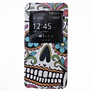 Flowers Cool Skulls Pattern PU Leather Cover with View Window for iPhone 6 Plus