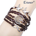 Eruner® Women's Multilayer Alloy Love Birds Life Tree and Infinity Handmade Leather Bracelet