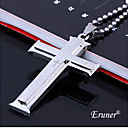 Eruner®Double Cross Silver Bible Titanium Steel Necklace