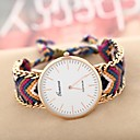 Women's Golden Case Chain Fabric Band Quartz Analog Bracelet Watch