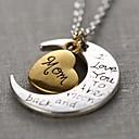 corazón de la manera mamá y luna colgante collar pendiente de la aleación de plata unisex (1 unidad)