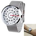 Reloj del análogo de la rotación de la personalidad de los hombres de la placa de dial de la correa de acero de diseño reloj de cuarzo (colores