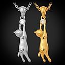 Buy U7® Hot Lovely Girl's 18K Gold Plated Austrian Rhinestone Cute Kitty Cat Necklace Pendant Jewelry Women