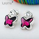 Buy Lureme® 925 Plating Silver Earrings, Butterfly Rhinestone Crystal Earrings,Drop Earrings