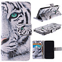 White Tiger Design PU Leather Full Body Case with Stand and Card Slot for iPhone 5/5S