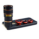 Apexel 4 in 1 Lens Kit 8X Telephoto Lens +Wide-angle+Macro Lens +Fisheye Lens with Back  Case for iPhone 5 5S